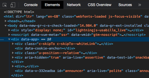Screenshot of the Chrome devtools elements panel showing the root element of the Vue application highlighted.