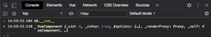 Screenshot of Vue instance object in the Chrome devtools console panel