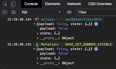 Screenshot of a Vuex action and mutation logged to the Devtools console.